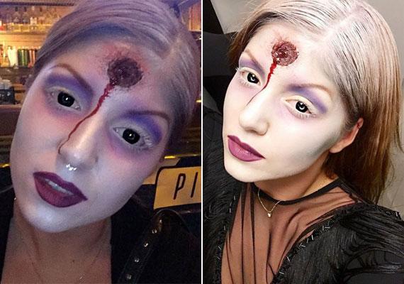 Tolvai Reni énekesnő hullaszínűre festette az arcát, és egy fejlövést is produkált a homlokán.