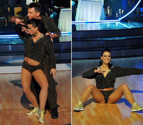 Mármarosi Tünde és Vastag Csaba nemcsak a mozgásukat, de az öltözetüket is összehangolták. A táncosnő csillogó sortjához ugyanilyen anyagból készült melegítőt vett fel az énekes.