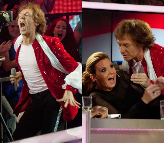 Bereczki Zoltán nemcsak külsőre, hanem a viselkedésében is át változott Mick Jagerré: a Rolling Stones nőfaló énekeseként még Liptai Claudiától is csókot követelt.
