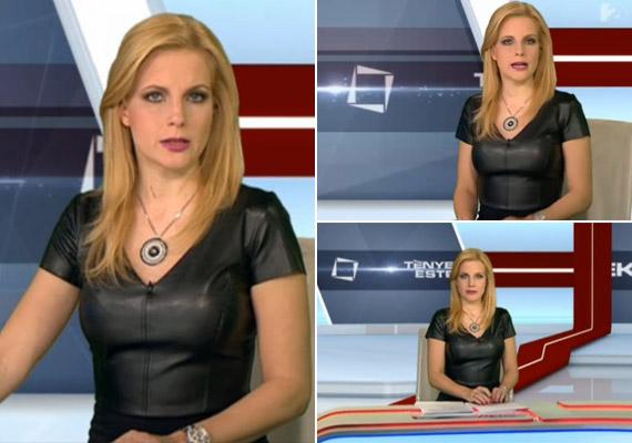 Várkonyi Andrea hétfőn ebben a bőrből vagy bőrhatású anyagból készült ruhával okozott meglepetést a Tények nézőinek. Még a magyar kereskedelmi csatornán is csak ritkán látunk híradóst ilyen dögös szerelésben.