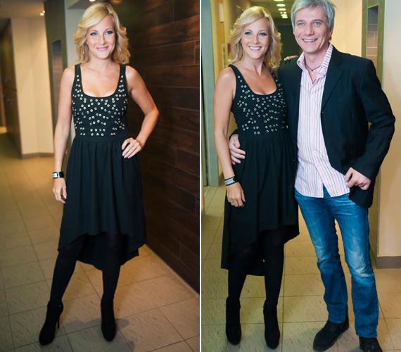 Idén januárban ebben a vagány, fekete ruhában érkezett a TV2 Frizbi című műsorának felvételére párjával, Bochkor Gáborral.