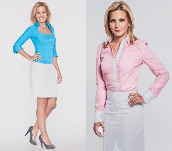 Az egyszerű fehér szoknyához nem csak a kék, de bármilyen szín, így a halvány rózsaszín is megy, ami ezúttal lágyítja a megjelenést.