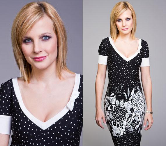 A fekete-fehér, virágos-pöttyös ruhában a TV2 képernyőjén szerepelt.