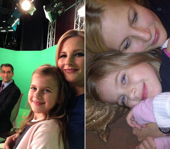 Várkonyi Andrea és Nóri két legszebb decemberi fotója. A kislány az elmúlt hétvégén a TV2 Tények című műsorának díszletei közé is elkísérte édesanyját.