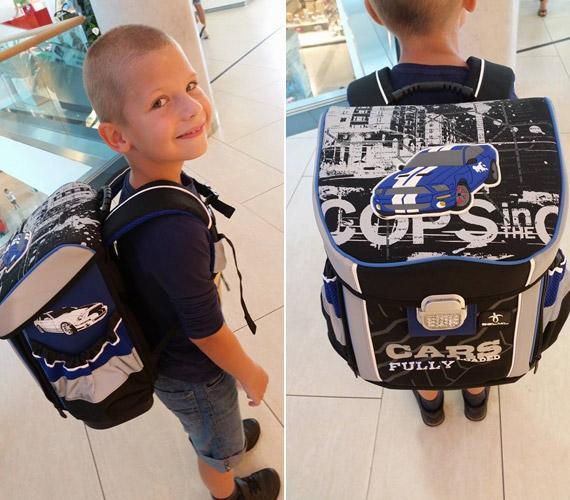Rába Tímea 2008-ban született kisfia, Noel már múlt héten büszkén mutatta meg az iskolatáskáját.