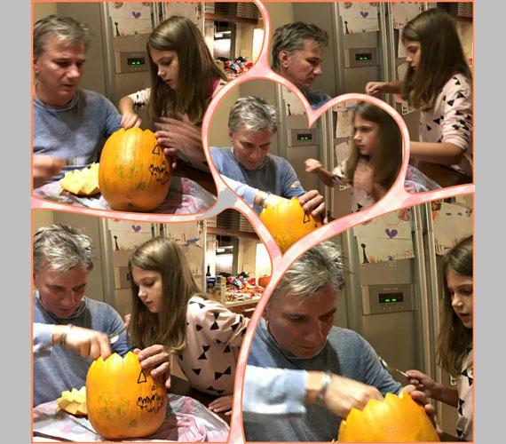 Bochkor Gábor imádja egy szem lányát, a nyolc és fél éves Nóri kedvéért még a tökfaragásból is kivette a részét idén halloweenkor.