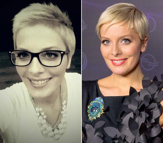 Tatár Csilla, az MTVA műsorvezetője többször is szelfizett klasszikus, fekete keretes szemüvegben.