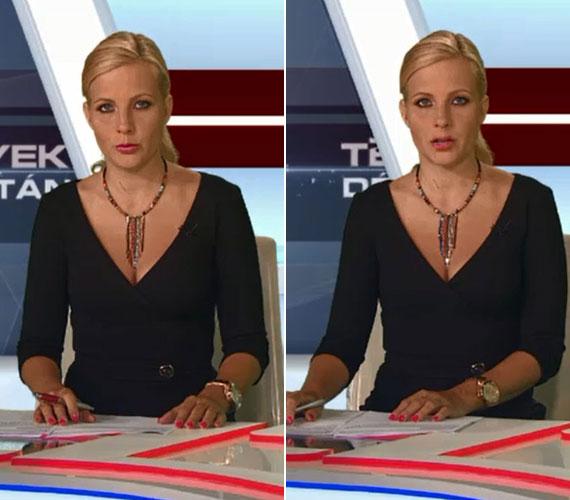 A fekete ruhát a Tények délutáni adásában is egy színes lánccal dobta fel, csak akkor összekötve viselte a haját.