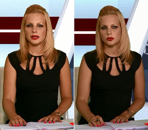 Az esti híradóban ugyanehhez a darabhoz csak a hajviseletén változtatott.