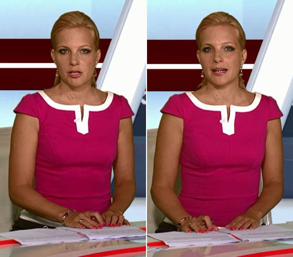 A pink ruhát a nyakrész körüli fehér betét tette egyedivé. Hozzá csepp alakú fülbevalót és vékony karkötőt viselt a híradós.