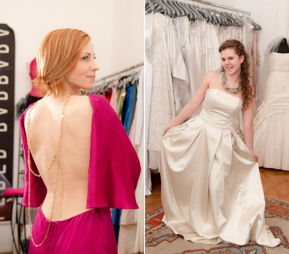 Szaksz Gabi egy merész, hátul teljesen nyitott lila ruhát próbált fel, míg Rónai Lili a kifinomultabb stílusra szavazott.
