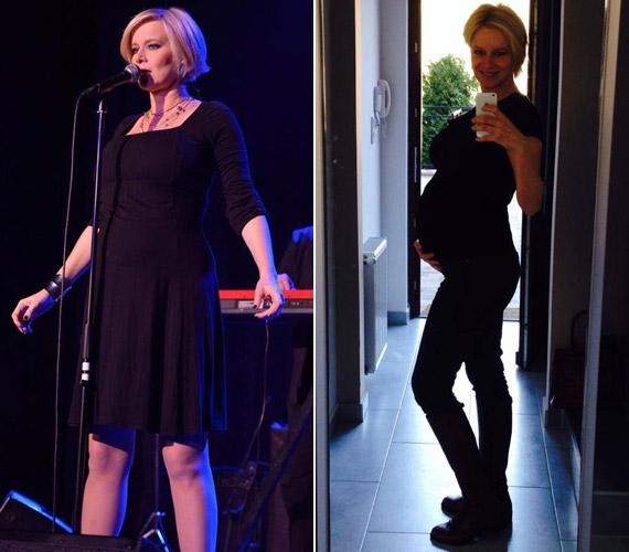 2012 novemberében egy koncerten és a szülés előtt 18 nappal - sok súlyfelesleget nem szedett magára a második terhessége alatt.