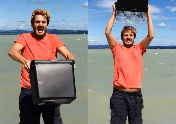 Lakatos Márk stylist a Balaton partján teljesítette a kihívást, aminek a végén a vízbe vetette magát. Videóját a Youtube-ra is feltöltötte.