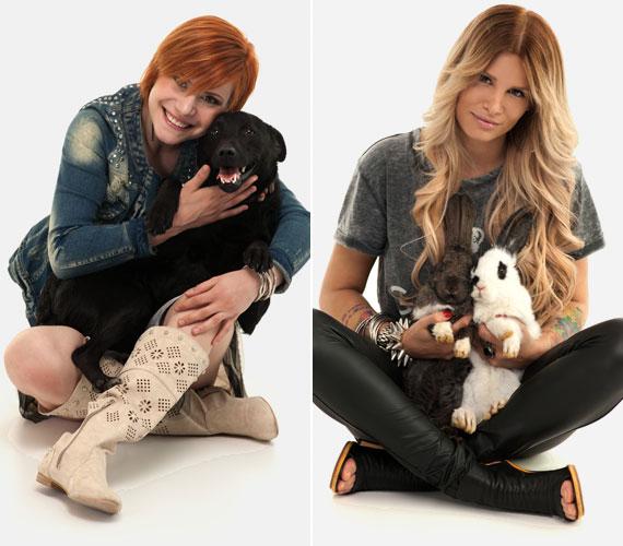 Antal Tímea, a 2012-es X-Faktor legjobb női hangja egy kutyust, Metzker Viki DJ két nyulat babusgatott törökülésben.