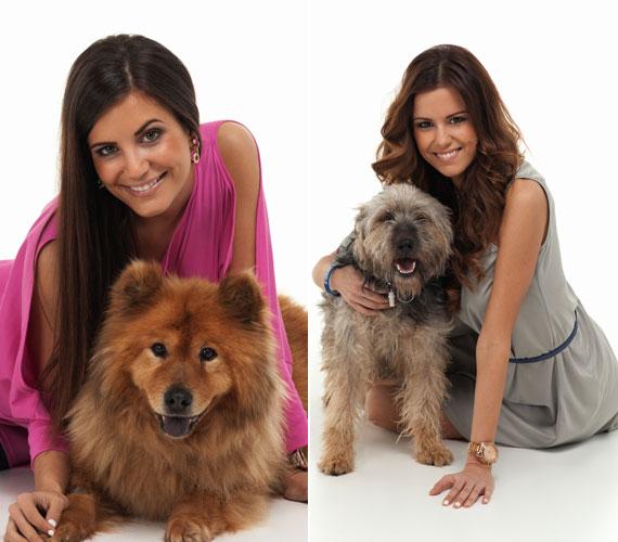Cserháti Tamara, a Miss World Hungary és Konkoly Ágnes, a Miss Universe Hungary cím viselői a földre borultak a kutyusok mellé.