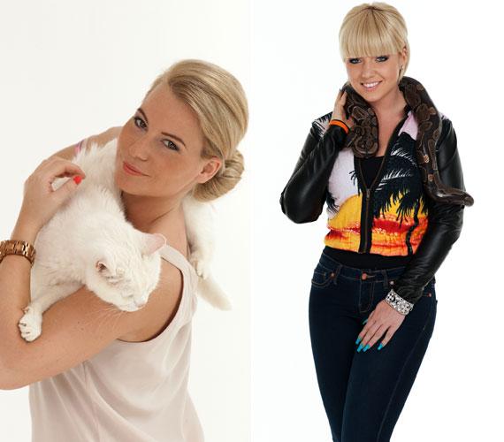 Két szőke hölgy, két merőben különböző állattal: Mádai Vivien műsorvezető egy pihe-puha fehér cicával, Tolvai Reni énekesnő egy kígyóval fotózkodott.
