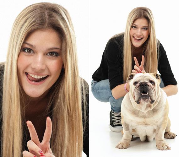 Weisz Fanni igazán kitett magáért: grimaszolt, kancsalított és szamárfület is mutatott nem mindennapi fotópartnerének, egy angol bulldognak.