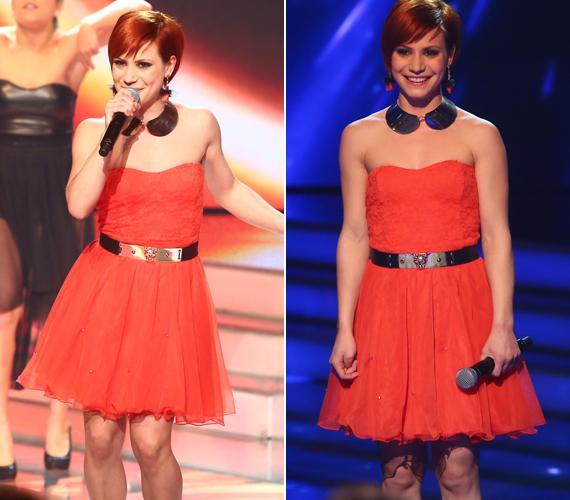 Korall ruhája bizony megtréfálta az énekesnőt, ugyanis előadása közben a földön fekve betekintést engedett a szoknya alá.