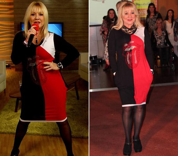 Hétfőn a FEM3 Caféban énekelt, két nappal előtte pedig ugyanabban a ruhában egy jótékonysági divatbemutatón vonult végig a kifutón.