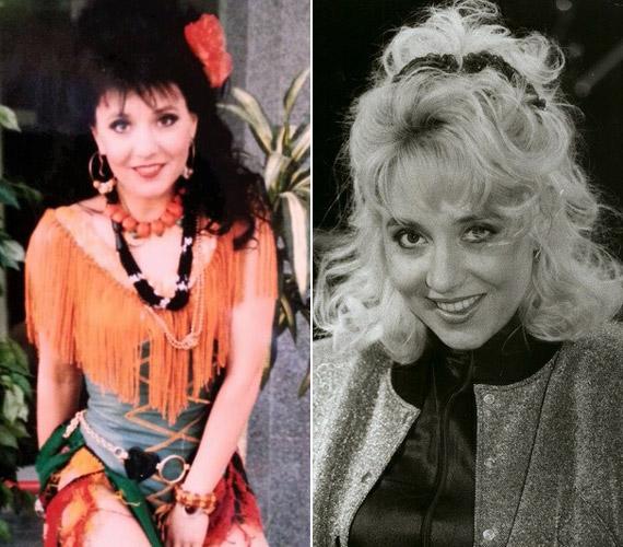 Zoltán Erika a Magyar Televízió 1990-es szilveszteri műsorának felvételén még fekete hajjal, majd egy évvel később már szőkén.