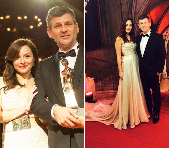 A TV2 díjazott műsorvezetőjével, Kárász Róberttel, akit párja, Róza kísért el egy földig érő, pezsgőszínű estélyiben.