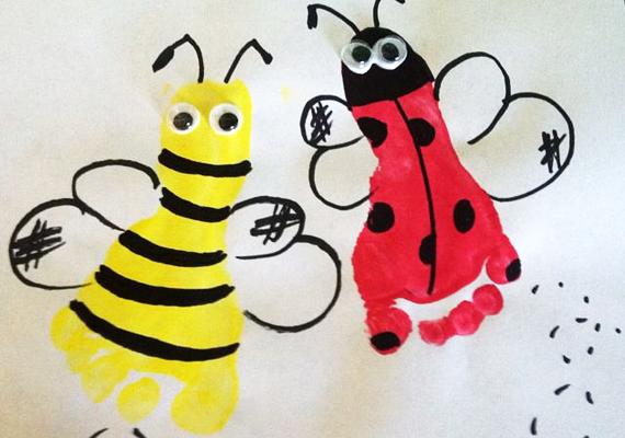Ha a lábadat mártod sárga vagy piros festékbe, majd egy fekete filctollal kidekorálod, nagyon aranyos méhecskét és katicát készíthetsz.