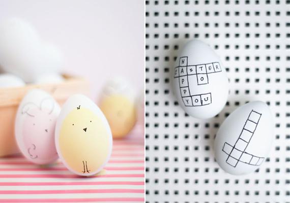 Ha szereted a vidám megoldásokat, akkor rajzolj keresztrejtvényt vagy egyszerű kiscsibét a tojásra.