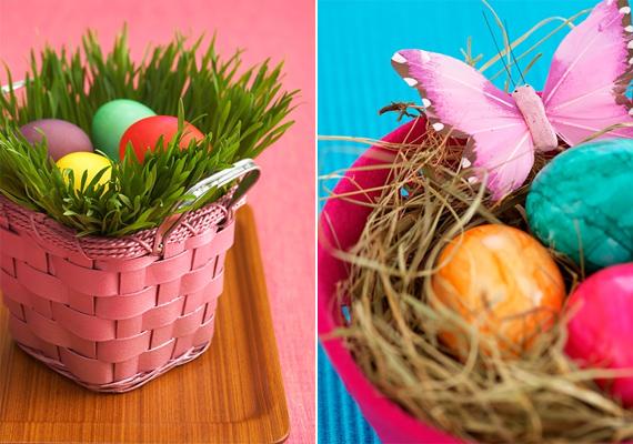 Az egyszínű hímes tojások sem unalmasak, ha szép környezetben - például egy kosárban, széna között - helyezed el őket.
