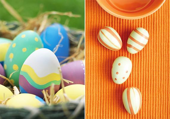Nem kell ahhoz művészeti képzés, hogy néhány pöttyöt és vonalat fess az egyszínűre mázolt tojásra. Az sem baj, ha nem egyformák a minták, illetve nem egyenesek, hiszen a végeredmény pont ettől különleges.