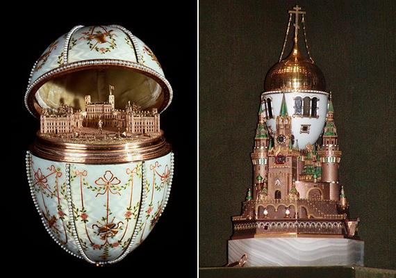 Olykor épületek is megbújnak a míves tojáshéj alatt vagy éppen rajta. Az első kép a Gathina-palotát, a második a Kremlt ábrázolja.