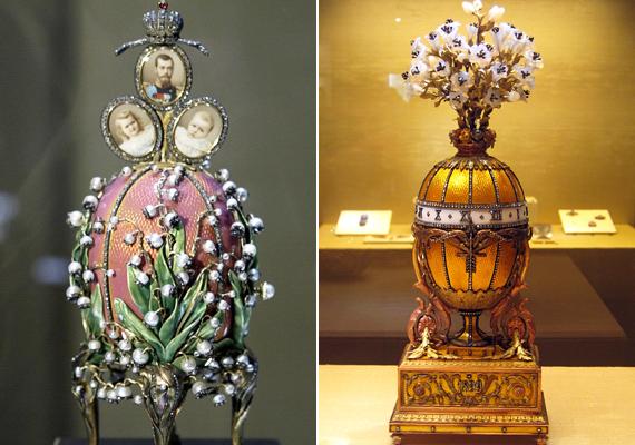 A virágmotívum több helyen is megjelenik: az első képen gyöngyvirág, a másodikon liliomcsokor dominál.