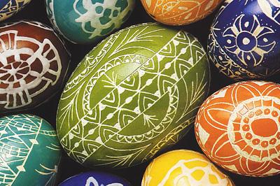Népi jellegű húsvéti tojások