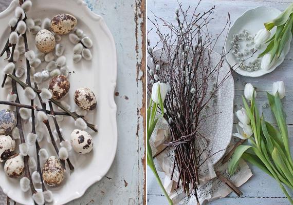 Ehhez az ötlethez csupán egy nagyobb tálat kell szerezned, és a szíved szerint elhelyezned rajta a barkával feldobott dekorációt. Használhatsz mellé tojásokat, de virágot is.