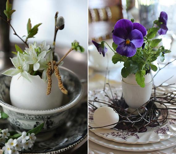 Válassz a boltban fehér héjú tojásokat, és amikor valamit sütsz-főzöl velük, akkor kicsit kiöblítve tedd félre a héjukat.Ezeket aztán mini vázaként vagy mini virágcserépként is használhatod - már csak mutatósan össze kell rendezned őket pár porcelánnal.