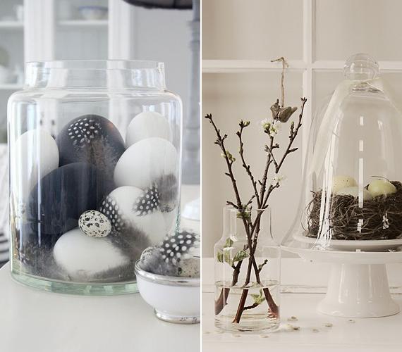 Üvegedényekben és üvegbura alatt is romantikus hatást keltenek a tojások, amelyek közé pár madártollat is tehetsz, hogy egy kis egzotikus színezetet kapjon a dekorációd.