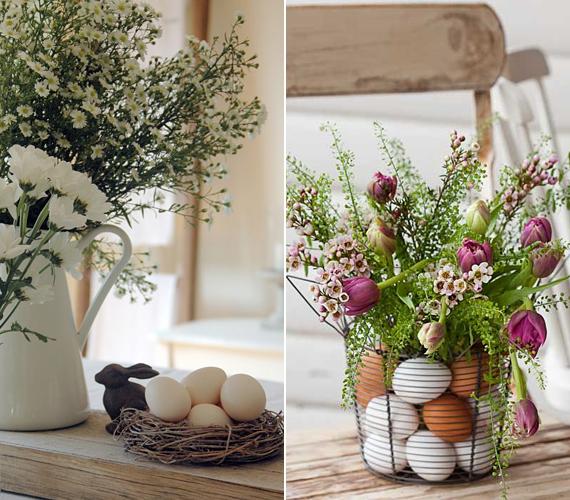 A vágott virágok mellett is jól mutat a sima tojás, de ha egy fémkosárba beleállítasz egy vázát, akkor a kosár és a váza közti helyet tojásokkal is kitöltheted.