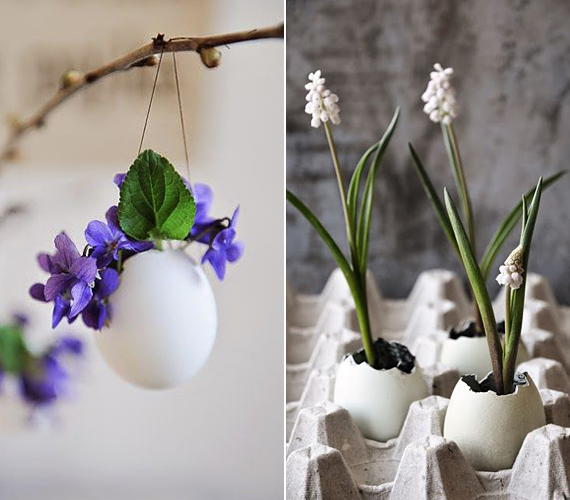 A vázaként használt tojáshéjakat fel is akasztgathatod barka- vagy gyümölcsfaágra, a beültetett héjakat pedig tojástartóba is állíthatod, ha rusztikusabb hatást szeretnél elérni.