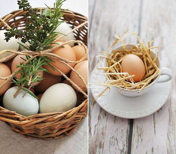 A falusias romantika jegyében egy kosár tojásra tegyél fűszernövénycsokrot, vagy egy antik csészét bélelj ki szalmával vagy rafiával, és ebbe helyezd a tojást. Utóbbi megoldást akár a húsvéti reggeli tálalásánál is alkalmazhatod, ha főtt tojásokat teszel a csészékbe.