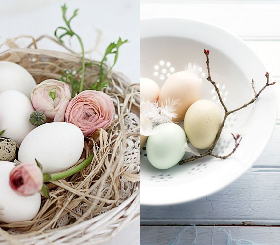 A fehér tojások remekül mutatnak egy csipkével, szalmával kibélelt tálban, amelybe egy-egy szál virágot vagy rügyező faágat is tehetsz.A dekorációd tartósabb lesz, ha a tojás előtte kifújod: szúrj lyukat a tojás aljára és tetejére, majd erősen fújd meg, hogy a másik lyukon kicsorogjon a tartalma.