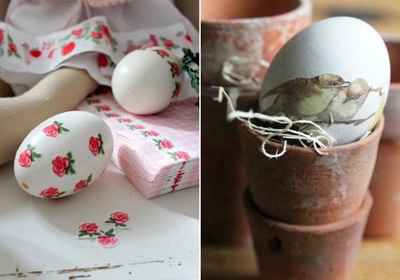 A dekupázs technikával is szép tojásokat készíthetsz. Kend be a tojás héját ott, ahová a szalvétát szánod, majd az egyrétegű anyagot óvatosan fektesd rá a héjra. Amikor elsimítottad, egy kis ragasztót kenj a tetejére, hogy fényesebb és tartósabb legyen a végeredmény.