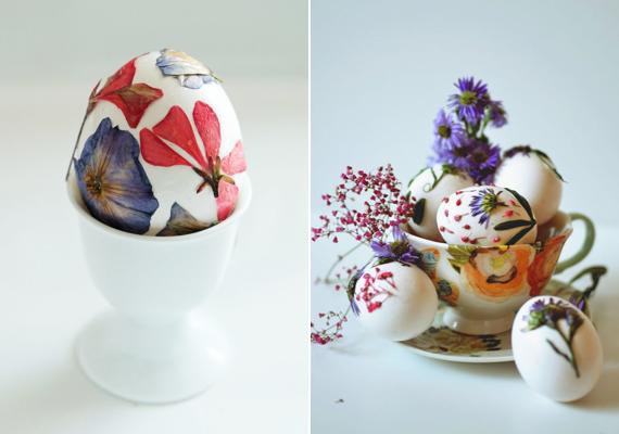 Szárított virágokkal is dekorálhatod a tojásokat, csupán annyi a teendőd, hogy egy vékony réteg ragasztóval átitatva rögzíted a virágokat a héjon. Az sem baj, ha nem simul rá teljesen, úgy olyan, mintha 3D-s lenne a minta.