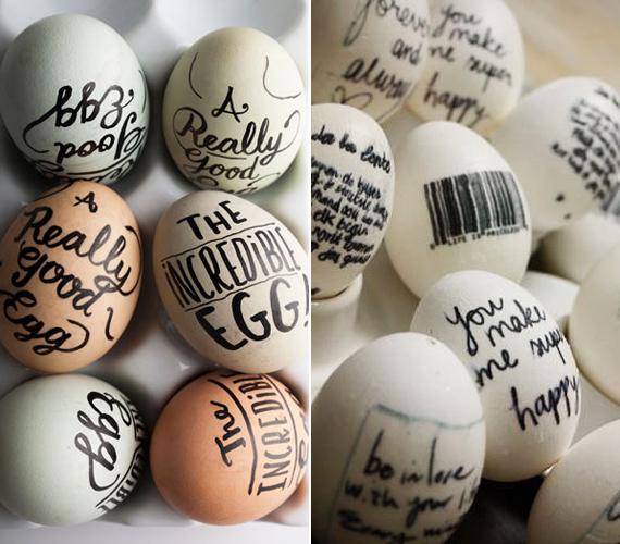 Humoros feliratokkal, idézetekkel vagy akár jókívánságokkal is dekorálhatod az egyszerű tojást. Gyors és személyes megoldás.
