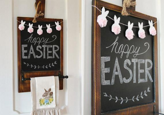 Igazán hangulatos ez a húsvéti dekoráció. A képen látható füzér elkészítését ismerheted meg, ha tovább kattintasz.