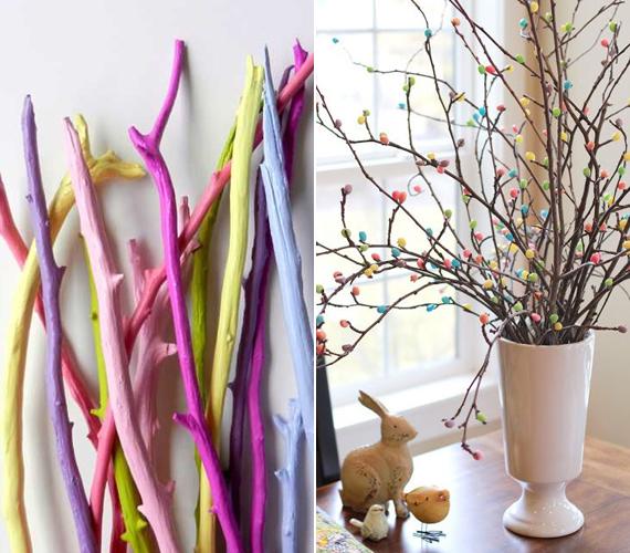 A sima faágak könnyedén begyűjthetőek a kertben vagy egy rövid kirándulás során, élénk színű szórófestékkel könnyen lefújhatod őket, és máris mehetnek a vázába. Ha van ragasztópisztolyod, akkor az ágakra színes kis rügyeket ragaszthatsz kis pompomokból, cukorkából, filcvirágokból.