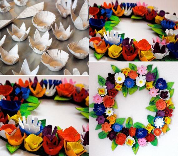 A képen látható koszorút használt tojástartóból kivágott virágokból és levelekből készítheted el. Ezeket temperával vagy akrilfestékkel is lefestheted, majd egy koszorúalapra rögzítve kész is a dekoráció, amely hosszan szép marad.