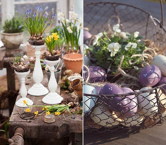 Ha szereted a rusztikus dekorációkat, akkor az antik ihletésű gyertyatartó nárcisszal vagy krókusszal jó választásnak bizonyulhat számodra. Ahogy egy régi kosarat is egyszerűen asztaldísszé tehetsz: csak béleld ki szalmával vagy raffiával, helyezz el benne egy kisebb cserepes virágot, majd azt rakd körbe tojásokkal - festettel, vagy akár csak sima natúr, kifújt tojáshéjakkal.