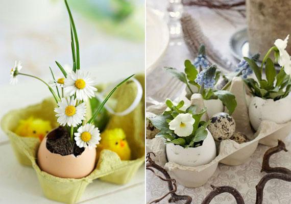 A mini vázaként használt tojáshéjakat akár tartóba is állíthatod, így szintén rendkívül mutatós.