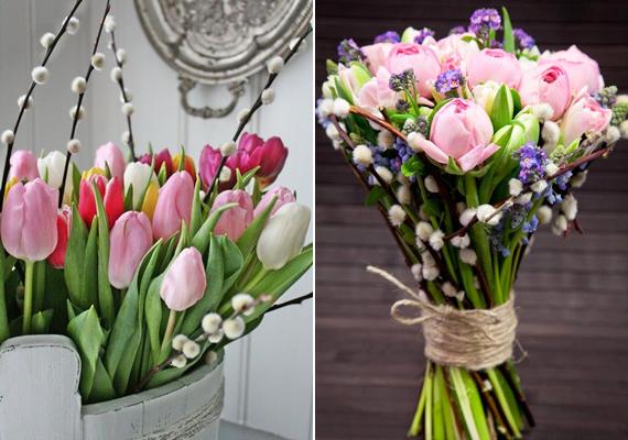Bármilyen színes csokrot csinálsz, érdemes barkával feldobni. Egy-egy szál beszúrva tökéletesen kiegészíti a színes virágkompozíciót.