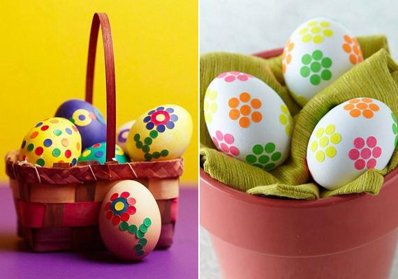 Ha színes papírt lyukasztóval kilyukasztasz, akkor szép konfettiszerű köröket kapsz, amikből könnyű virágot kirakni, még a tojáson is.