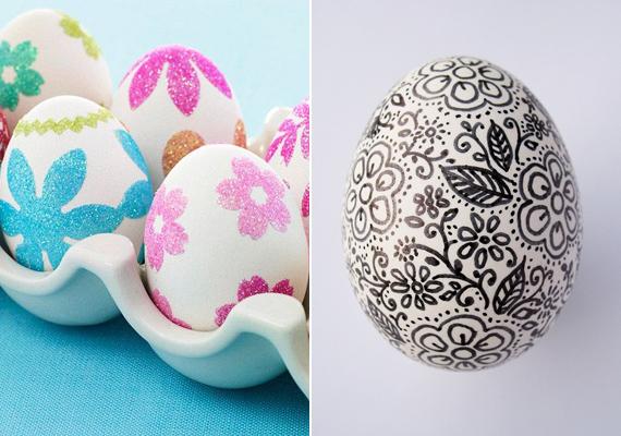 Ha kétbalkezes is vagy, biztos, hogy tudsz virágot rajzolni. Akár csillámos, akár alkoholos filccel kanyarinthatsz néhány cuki virágot a tojásra.